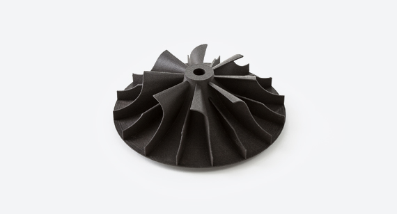 nylon 3d printed automotive fan part produced by protolabs