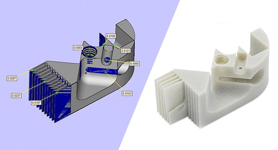 Minimum feature sizes for parts built  with Multi Jet Fusion and selective laser sintering 3D printing methods.